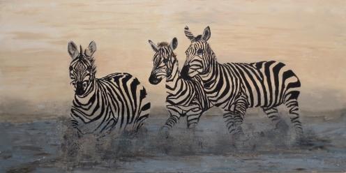 Zebras, acrylic, 24'x36
