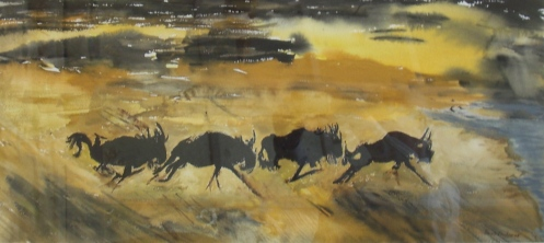 "Wildebeasts,watercolor, 113""x 30"", Framed 21""x 30"",$350.00"